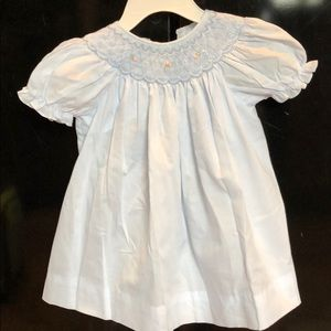 Smoked light blue baby dress